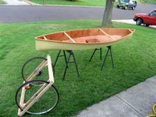The canoe is about finished and the trailer or cart is coming together